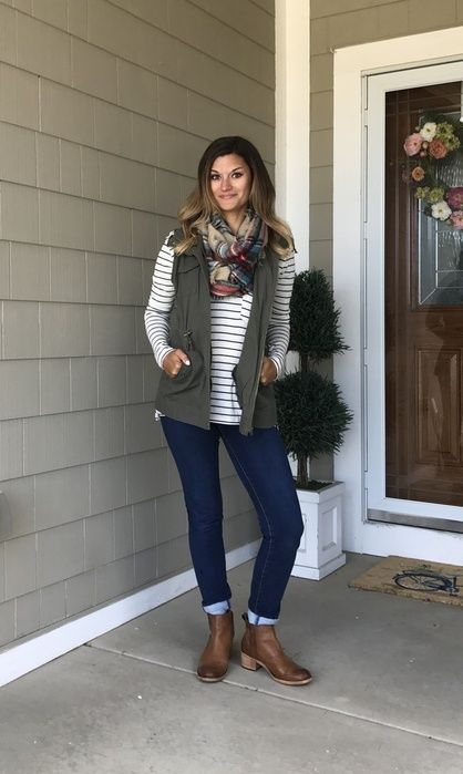 Shop the Look from justposted on ShopStylePerfect fall outfit! Striped tee, cargo vest, jeans, plaid scarf, and booties!