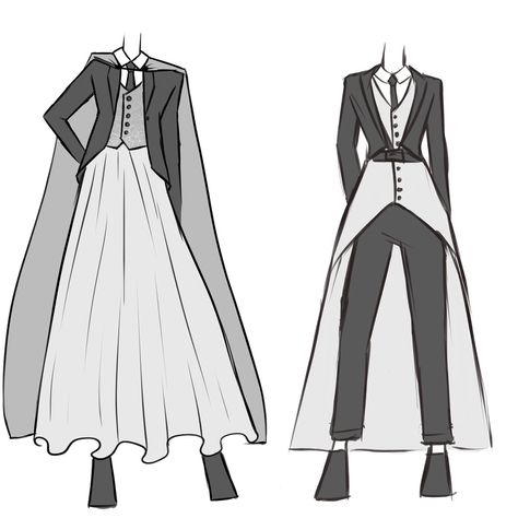 Wedding wears for androgynous/nonbinary/genderfluid people - Clothes - Wedding wears for androgynous/nonbinary/genderfluid people Informations About Wedding wears for andr - Fashion Design Drawings, Fashion Sketches, Anime Outfits, Fashion Outfits, Mode Cool, Kleidung Design, Mode Steampunk, Drawing Anime Clothes, Androgynous Fashion