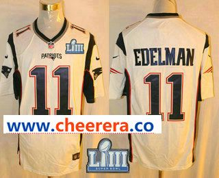 Men S New England Patriots 11 Julian Edelman White 2019 Super Bowl Liii Patch Retired Player Nfl Nike Game Jersey Patriots Patriots Game Nfl Jerseys