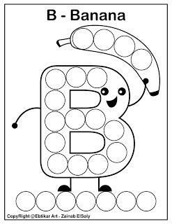 Set Of Abc Dot Marker Coloring Pages B For Banana Free Preschool Printable Coloring Pag Preschool Alphabet Printables Abc Coloring Preschool Letters Printables
