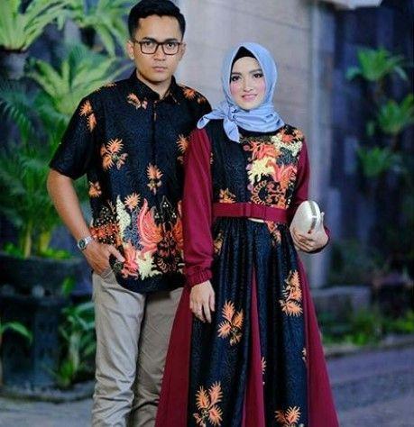Model Baju Gamis Batik Kombinasi Kain Polos Satin Simple Aksen Pita