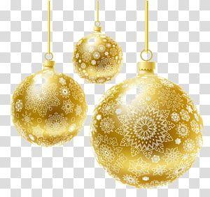 Three Golden Bauble Balls Christmas Ornament Christmas Decoration Christmas Tree Creative Christmas Tran Navidad Dorada Vectores Cumpleaños Bolas De Navidad