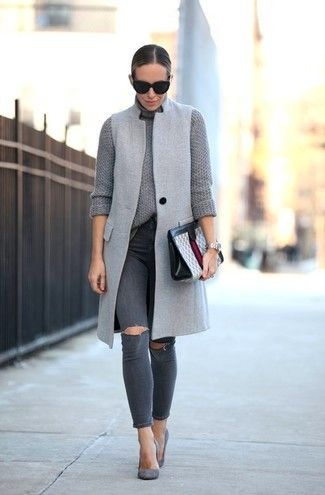 Dress in a grey sleeveless coat and dark grey ripped slim jeans to achieve a chic look. Grey suede pumps will bring a classic aesthetic to the ensemble.