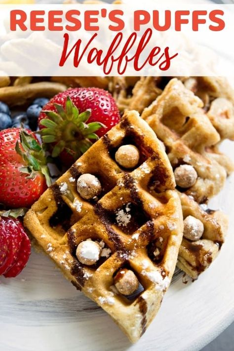 Combine two breakfast favorites -- cereal and waffles -- with this rich and peanut-buttery Reese's Puffs cereal waffles recipe. #Reeses #Waffles #BreakfastIdeas #BreakfastRecipes #WaffleRecipes #ReesesPuffs #CerealWaffles #PeanutbutterRecipes #BrunchRecipes #BrunchIdeas