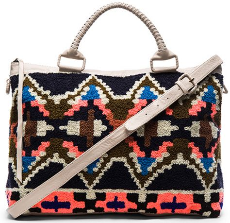 Weekender Bag in White Leather and Multi-Color Geometric Pattern