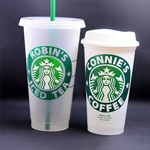 Personalized 16 oz Reusable Coffee Cup Grande Hot Cup with Custom Name and LidsSleeves.