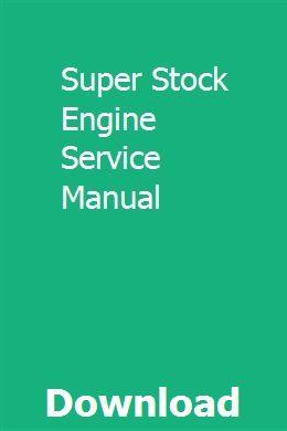 Super Stock Engine Service Manual Chevy Impala Repair Manuals Impala Car