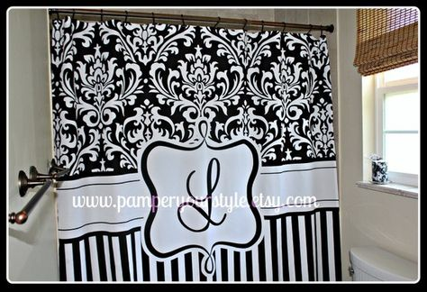 Damask And Stripe Black White Personalized Shower Curtain Custom Monogrammed
