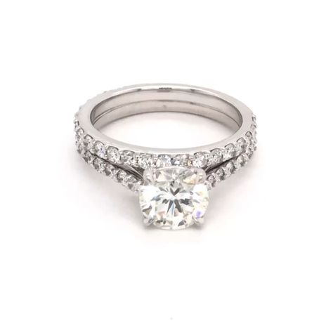 Beautiful Engagement Set with over 2ct  Round Brilliant Diamond center stone available at www.aura.diamonds.  For more beautiful designs check us out @auradiamonds