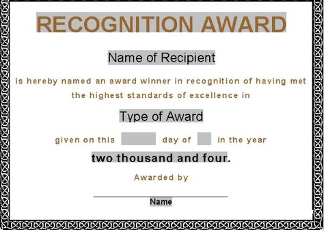 Recognition award certificate template Award certificates, Gift