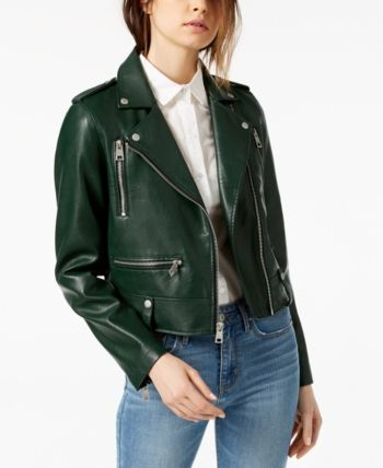 Levi S Classic Faux Leather Asymmetrical Motorcycle Jacket Reviews Women Macy S Green Leather Jacket Outfit Leather Jackets Women Green Leather Jackets