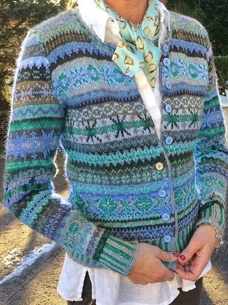 Vintage Tribal Long Sleeve Knitted Coats Printed Cardigan Justfashionnow Com In 2020 Long Sleeve Knit Sweaters Long Sleeve Knit Knitted