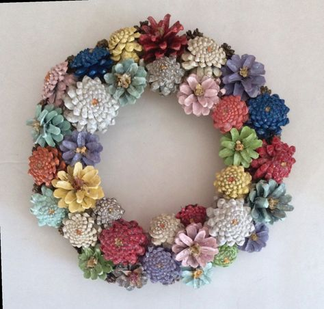 Autumn Wreath Natural Cones And Heathers With Crochet Ribbon Shabby Chic
