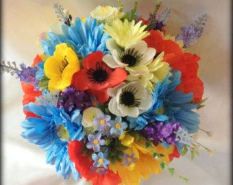 Retro Artficial Wedding Bouquet Suitable For The Bride In Beautiful Bright Bold Poppies Gerbera And Gerbera Wedding Bouquets Gerbera Wedding Gerbera