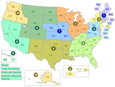 Air Quality Map United States.Map Of The Us Split Into Epa Regions Countertop Water Filter