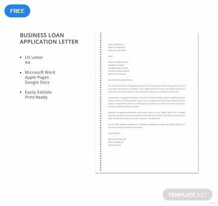 Free Business Loan Application Letter Application Letters