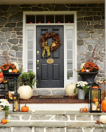 34 Elevated Ways To Decorate Your Porch This Fall Front Porch Decorating Fall Decorations Porch Front Porch Christmas Decor