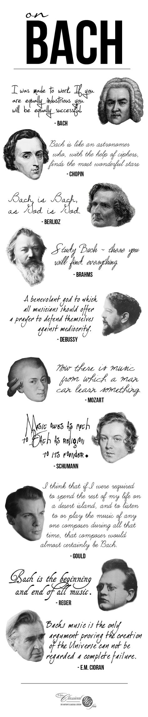 In honor of Bach's 264th anniversary of his passing, here's what some composers had to say about him!