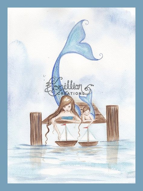 Sailboats Mermaid & Merboy Print from Original Watercolor Painting by Camille Grimshaw
