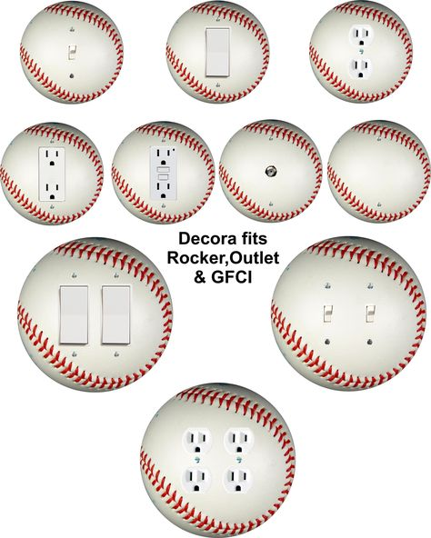 Baseball themed wall plate covers for light switch, toggle, duplex, outlet, decora, doubles, cable and blank