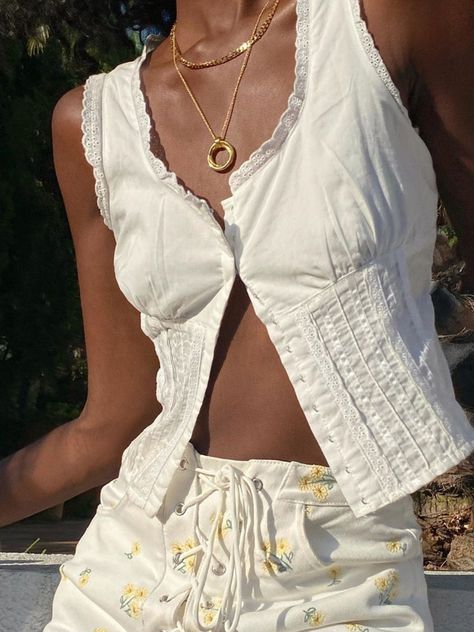 Anniecloth White Women Tops Holiday Cotton V Neck Paneled Holiday Tops