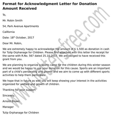 Sample for Acknowledgment Letter for Donation Amount Received - acknowledgement report sample