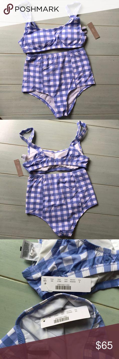 78c05f499aa42 J. Crew High-waisted Bikini Set in Gingham Scoop bikini top in oversized  matte