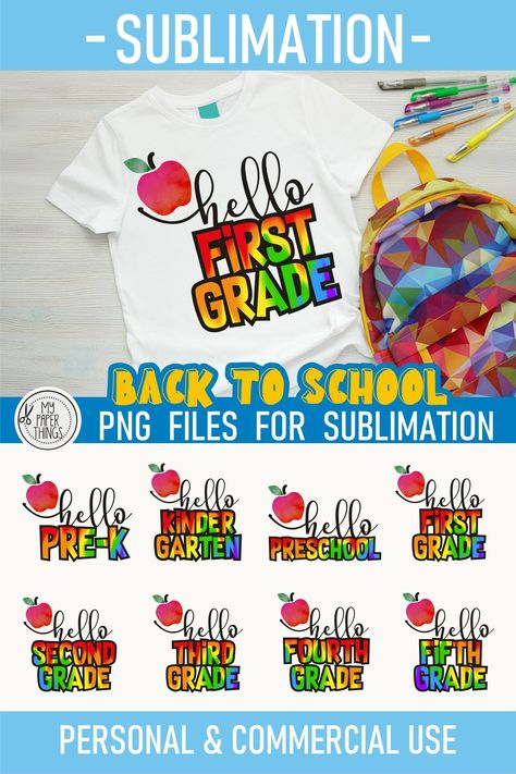 Back to School PNG, First Day of School sublimation bundle