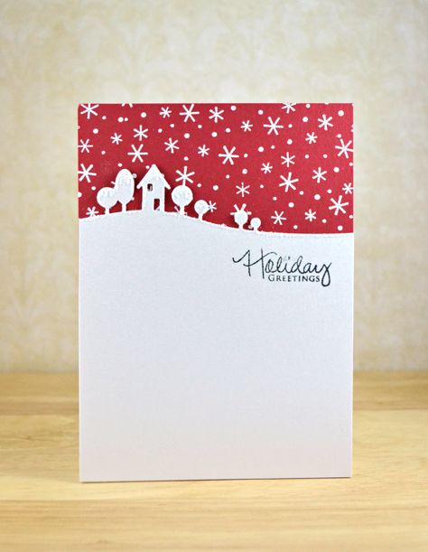 Christmas card ... clean and simple ... red starry sky ... house  trees die cut ...elegant simplicity ...