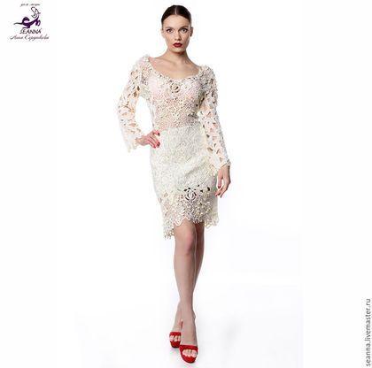 e21aa51221f57e6 Платья ручной работы. Ярмарка Мастеров - ручная работа. Купить Роскошное  вязаное вручную платье Шелковое, расшитое натуральным жемчуг.