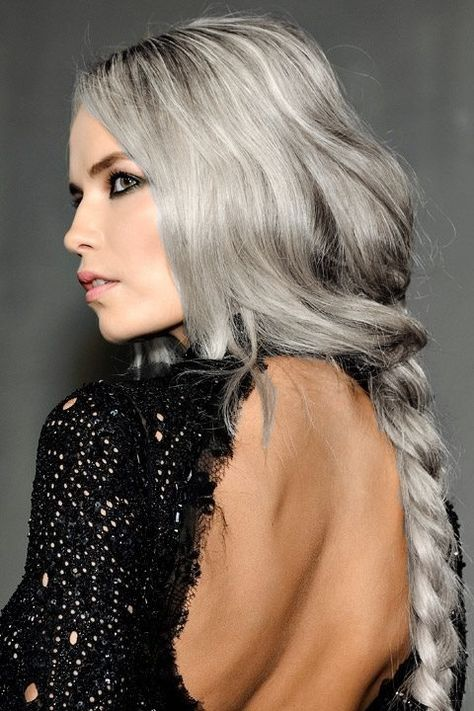 Grey hair braid