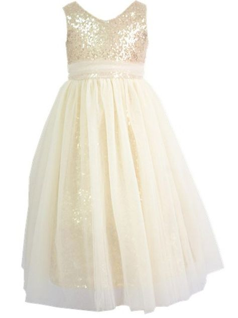 3a93ae80be Bow Dream Bowdream Flower Girls Dress Sequins Gold Ivory 8 Years     Visit  the image link more details. (It is Amazon affiliate link)   GirlsClothingIdeas