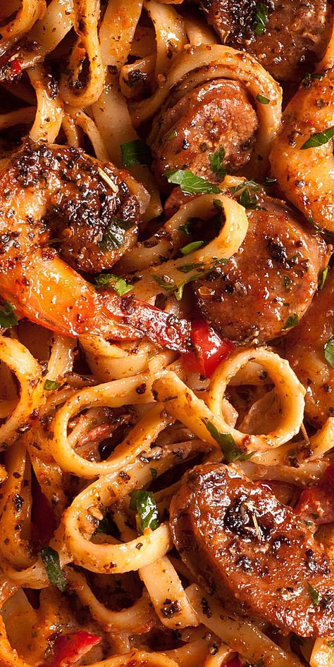 Creamy Cajun Shrimp Pasta with Sausage is easy to make weeknight pasta dish! With only 30 minutes of total work, this shrimp pasta dinner recipe is simple, fast and delicious! Ingredients: large shrimp Cajun seasoning (or Creole seasoning) Oregano 2 Sausage And Shrimp Recipes, Shrimp And Sausage Pasta, Cajun Shrimp Pasta, Shrimp Recipes For Dinner, Shrimp Recipes Easy, Seafood Recipes, Parmesan Shrimp, Cajun And Creole Recipes, Cajun Pasta Sauce