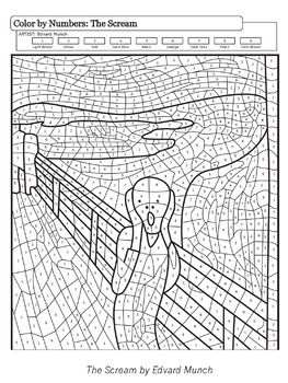 Art Masterpieces To Color Distance Learning In 2020 Famous Art Coloring Art Worksheets Color By Numbers