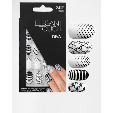 Express nails by Elegant Touch Pack of 24 instant nails In 10 different sizes Contrast colour designs Natural shape Includes nail glue, buffer and instruction leaflet
