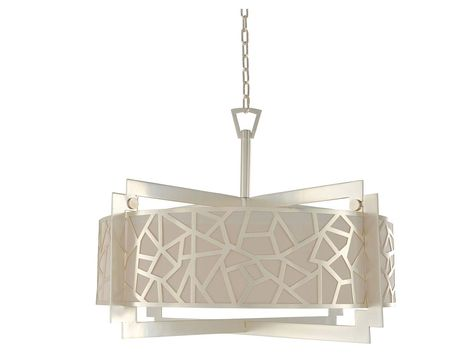"""Laser cut steel frame features a geometric patterned gallery. a silk shade with top metal and bottom acrylic diffusers. Features a soft rose silver finish. Product Details Brand: Kalco Collection: Miramar Model: 303554RS Type: Semi-Flush Mts. Finish: Rose Silver Material: Laser Cut Steel , Silk Height: 23.00"""" Width/Diameter: 32.00"""" Length: Number of Bulbs: 6 Bulb Type: Dimmable?: Yes Energy Star Rated?: Manufacturer Warranty: Rooms: Living Room, Bedroom, Family Room, Dining Room Product Specific"""