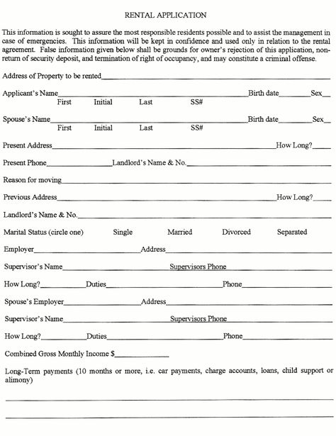 Printable Sample Rental Application Form Pdf Form Real Estate - tenant application form