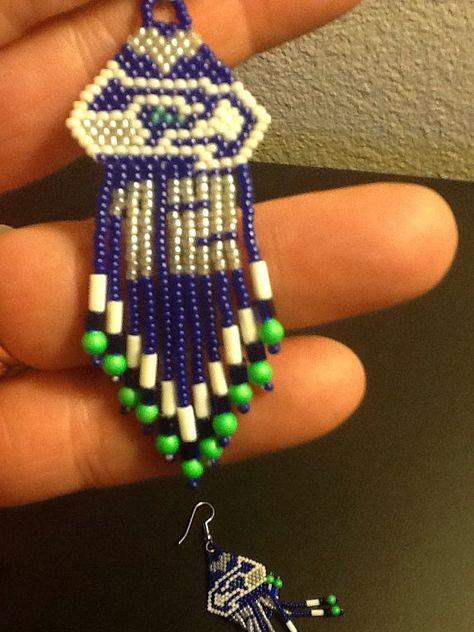 Seahawks Man Earrings by GroovyBeadsandStuff on Etsy