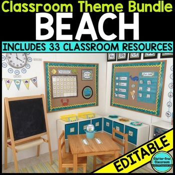 Beach Theme Classroom Decor Editable Classroom Themes Beach