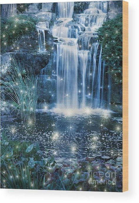 Magic Night Waterfall Scene Wood Print by Alex Hubenov