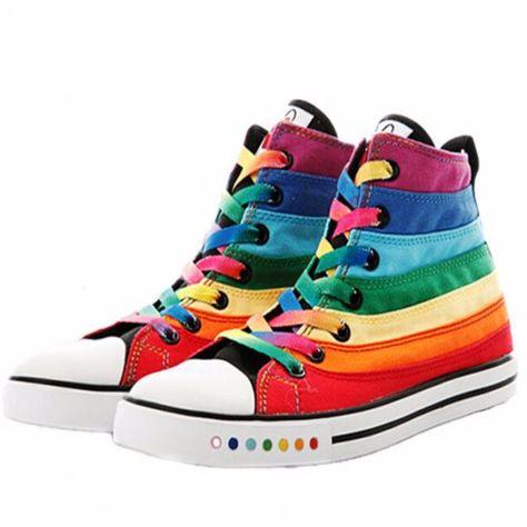 Casual Rainbow Striped High Cut Women Canvas Shoes  4efdd90c8