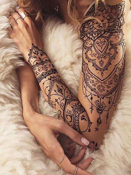 Elegant Half Sleeve Tattoos, Full Arm Sleeve Tattoo, Lace Sleeve Tattoos, Henna Sleeve, Tattoo Sleeve Designs, Shoulder Sleeve Tattoos, Woman Sleeve Tattoos, Henna Tattoo Shoulder, Full Leg Tattoos