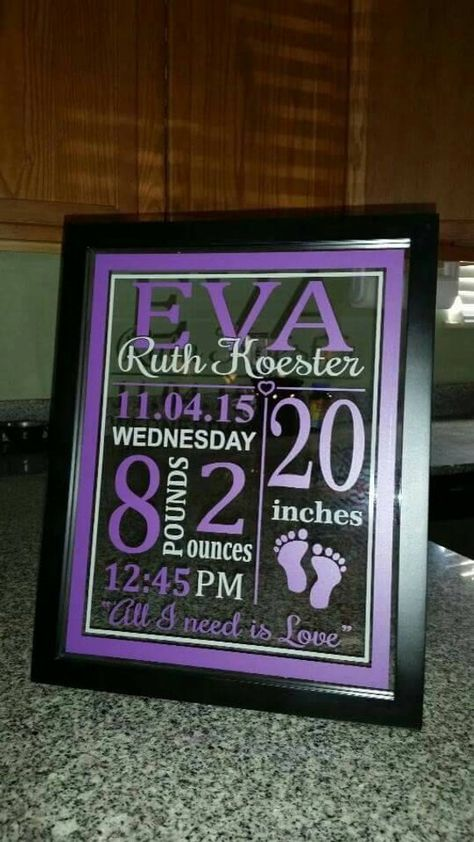 baby stats floating frame Two colors With your child's stats Has a stand to sit on a shelf or a saw tooth hanger for wall Oracle viynl Put in buyers message colors and stats Name: First Middle Last Date Lbls/oz Time Size Cricut Craft Room, Cricut Vinyl, Vinyl Crafts, Vinyl Projects, Color Names Baby, Homemade Anniversary Gifts, Anniversary Ideas, Wedding Anniversary, Baby Frame
