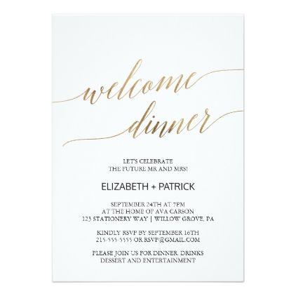 Elegant Calligraphy Gold Welcome Dinner Invitation Zazzle Com Couples Shower Invitations Gold Rehearsal Dinner Wedding Reception Invitations