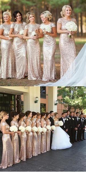 2020 Charming  Most popular mermaid short sleeves sequin long Bridesmaid Dresses, WG04
