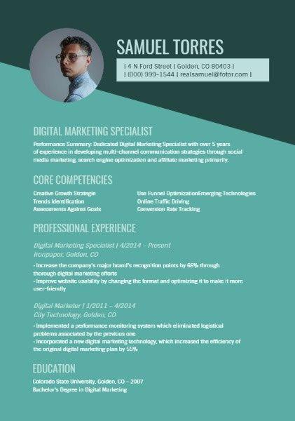 How To Design Digital Marketing Specialist Resume Click For More Fotor Design Maker Digital Marketing Marketing Resume Online Digital Marketing