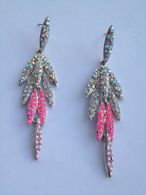 Hot Pink Glass Chandelier Earrings