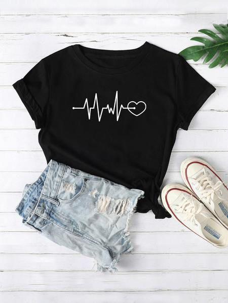 Camiseta Con Estampado Gráfico Con Corazón Ropa Moda De Ropa Ropa Para Chicas Adolescentes