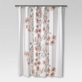 Blooms Flat Weave Shower Curtain Coral Threshold With Images