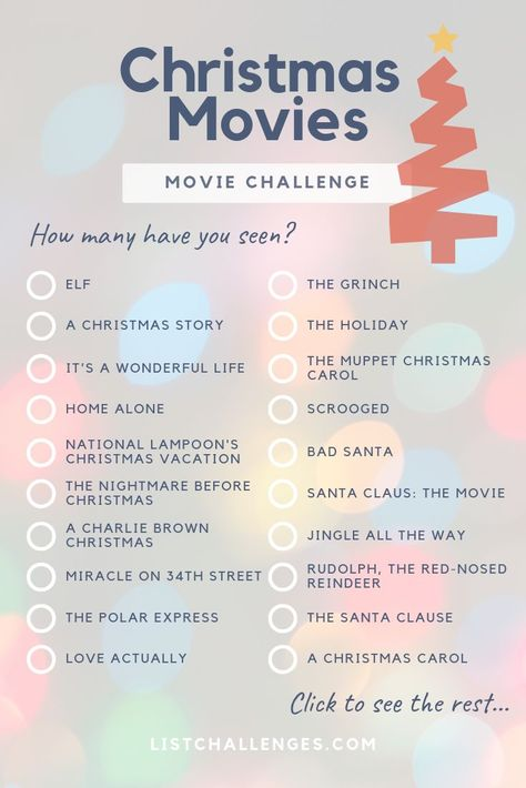 The Ultimate Christmas Movie List ~ Movie Challenge. Christmas is nearly here - but is it even Christmas without a festive movie? How many of these have you watched? Click to see the entire list!